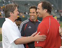 LA Galaxy Head Coach Frank Yallop (L) and NY Red Bulls head coach Bruce Arena (R) with Red Bulls assistant coach John Harkes (middle) exchange pleasantries before their US Open qualifier game.The LA Galaxy defeated the New York Red Bulls 3-1 at the Home Depot Center in Carson, California, May 8, 2007.