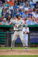 West Michigan Whitecaps catcher Joey Morgan (28) at bat during a game against the Kane County Cougars on July 19, 2018 at Northwestern Medicine Field in Geneva, Illinois.  Kane County defeated West Michigan 8-5.  (Mike Janes/Four Seam Images)