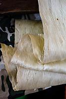 Kapa making on the Big Island: Several wauke (paper mulberry) felted to make kapa.