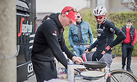 A popular tradition by Trek-Segafredo teamchef Kim Rokkjaer who makes fresh pancakes (on the spot) for the team after their 2017 Paris-Roubaix recon, 3 days prior to the event.<br /> John Degenkolb (DEU/Trek-Segafredo) is the first one back at the bus to get his.