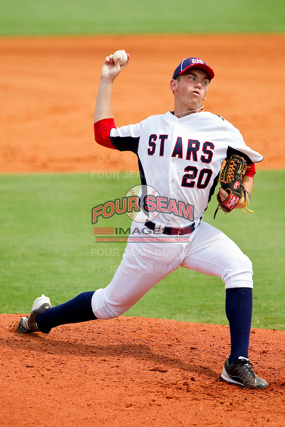 Henry Gigeous #20 of STARS in action against RBI at the 2011 Tournament of Stars at the USA Baseball National Training Center on June 26, 2011 in Cary, North Carolina. (Brian Westerholt/Four Seam Images)