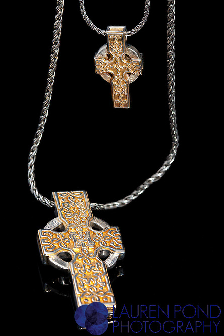Cynthia Gale Celtic cross necklaces. Silver and gold.