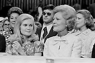21 Aug 1972, Miami, Florida, USA --- President Richard Nixon's eldest daughter, Patricia Nixon Cox (L), and his wife Thelma Catherine Patricia Ryan Nixon, showing support at the 1972 30th Republican Convention for his presidential reelection. Nixon is campaigning against the South Dakota Democrat Senator George S. McGovern. --- Image by © JP Laffont/Sygma/Corbis