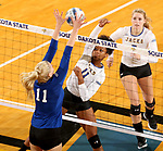 BROOKINGS, SD - SEPTEMBER 1: Payton Richardson #11 from South Dakota State University tries to get a kill past Haylee Roberts #11 from CSU Bakersfield during their match Friday night at the Jackrabbit Invitational at Frost Arena in Brookings. (Photo by Dave Eggen/Inertia) (Photo by Dave Eggen/Inertia)
