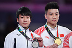 (L-R) Ä Shogo Nonomura (JPN), Lin Chaopan (CHN), <br /> AUGUST 20, 2018 - Artistic Gymnastics : Men's Individual All-Around Medal Ceremony at JIEX Kemayoran Hall D during the 2018 Jakarta Palembang Asian Games in Jakarta, Indonesia. <br /> (Photo by MATSUO.K/AFLO SPORT)