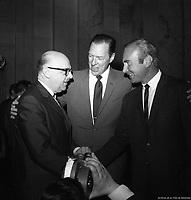 Le maire Jean Drapeau, le président John McHale et le directeur-gérant Jim Fanning des Expos de Montréal, 7 avril 1970, VM94-E2580-012. Archives de la Ville de Montréal
