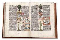 "First edition of the ""Liber Genealogiae Regum Hispaniae"", the Book of the Genealogy of the Kings of Spain, 15th century manuscript kept in the National Library of Spain in Madrid, on natural parchment made of animal skin published by Scriptorium SL in Valencia, Spain. © Scriptorium / Manuel Cohen"