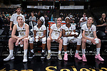 (L-R) The Wake Forest Demon Deacons starting lineup of Alex Sharp (14), Amber Campbell (2), Gina Conti (5), Ona Udoh (44), and Elisa Penna (41) wait to take the court for their game against the Virginia Cavaliers at the LJVM Coliseum on February 25, 2018 in Winston-Salem, North Carolina. The Cavaliers defeated the Demon Deacons 48-41.  (Brian Westerholt/Sports On Film)