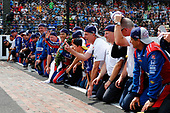 Verizon IndyCar Series<br /> Indianapolis 500 Race<br /> Indianapolis Motor Speedway, Indianapolis, IN USA<br /> Sunday 28 May 2017<br /> Takuma Sato, Andretti Autosport Honda kisses the bricks with his team<br /> World Copyright: Phillip Abbott<br /> LAT Images<br /> ref: Digital Image abbott_indyR_0517_34169