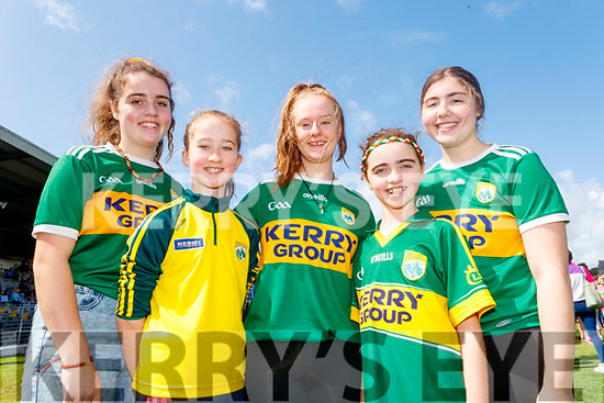 Tara O'Leary, Chloe O'Leary, Roisin Brosnan, Abby O'Leary and Katelyn O'Leary, all from Gneeveguilla, enjoying the Kerry Team Open Day Meet and Greet, at Fitzgerald Stadium, Killarney on Saturday last.