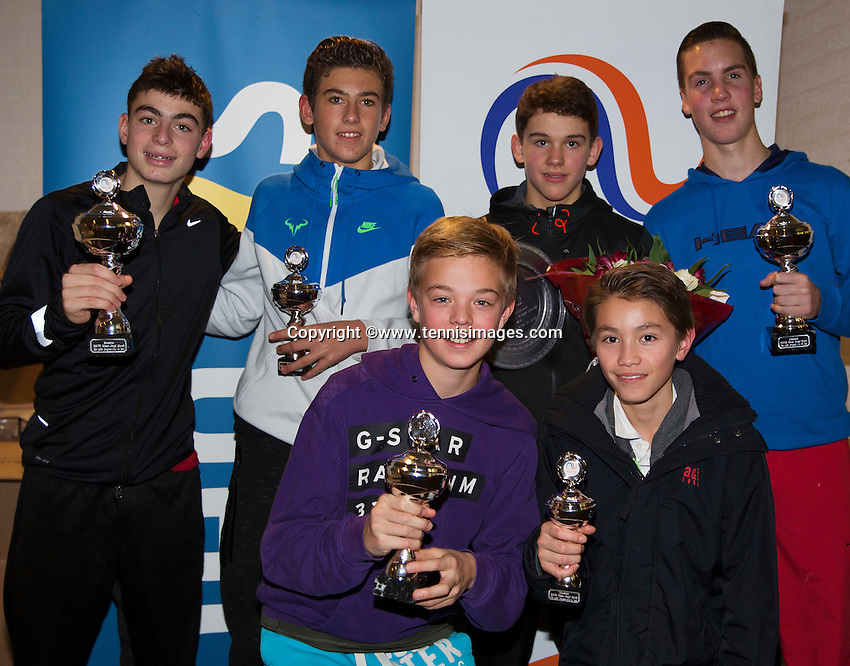 Almere, Netherlands, December 6, 2015, Winter Youth Circuit, Winners boys 14 years: <br /> Photo: Tennisimages/Henk Koster