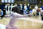 12 February 2017: UNC's Justine de Grasse attacks during her Epee match. The University of North Carolina Tar Heels played the Northwestern University Wildcats at Card Gym in Durham, North Carolina in a 2017 College Women's Fencing match. UNC won the dual match 15-12 overall, 5-4 Foil, 5-4 Epee, and 5-4 Saber.