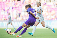 Orlando, FL - Sunday May 14, 2017: Toni Pressley, Lynn Williams during a regular season National Women's Soccer League (NWSL) match between the Orlando Pride and the North Carolina Courage at Orlando City Stadium.