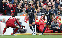 Manchester City's Riyad Mahrez looks to take on Liverpool's Andrew Robertson <br /> <br /> Photographer Rich Linley/CameraSport<br /> <br /> The Premier League - Liverpool v Manchester City - Sunday 7th October 2018 - Anfield - Liverpool<br /> <br /> World Copyright &copy; 2018 CameraSport. All rights reserved. 43 Linden Ave. Countesthorpe. Leicester. England. LE8 5PG - Tel: +44 (0) 116 277 4147 - admin@camerasport.com - www.camerasport.com