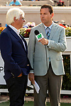 DEL MAR, CA  AUGUST 17:   Trainer Bob Baffert interviewed after his filly #7 Fighting Mad, ridden by Joseph Talamo,  won the Torrey Pines Stakes (Grade lll) on August 17, 2019 at Del Mar Thoroughbred Club in Del Mar, CA. Photo by Casey Phillips/Eclipse Sportswire/CSM)
