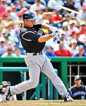 10 July 2011: Colorado Rockies second baseman Mark Ellis in action against against the Washington Nationals at Nationals Park in Washington, District of Columbia. The Nationals shut out the visiting Rockies 2-0 salvaging the last game their 3-game series at home prior to the All-Star break. Mandatory Credit: Ed Wolfstein Photo