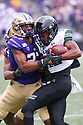SEATTLE, WA - SEPTEMBER 14: Washington's (27) Keith Taylor (DB) wraps up Hawaii (23) Jared Smart (WR) during the college football game between the Washington Huskies and the Hawaii Rainbow Warriors on September 14, 2019 at Husky Stadium in Seattle, WA. Jesse Beals / www.Olympicphotogroup.com