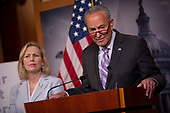 United States Senate Minority Leader Chuck Schumer (Democrat of New York), United States Senator Kirsten Gillibrand (Democrat of New York), and United States Senator Cory Gardner (Republican of Colorado) hold a press conference on Capitol Hill in Washington D.C., U.S. on July 17, 2019, calling for the passage of the 9/11 Victims Fund. <br /> Credit: Stefani Reynolds / CNP<br /> (RESTRICTION: NO New York or New Jersey Newspapers or newspapers within a 75 mile radius of New York City)
