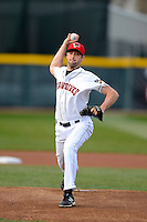 Erie Seawolves pitcher Derek Hankins #12 during a game against the Erie Seawolves on April 23, 2013 at Jerry Uht Park in Erie, Pennsylvania.  Erie defeated Bowie 4-1.  (Mike Janes/Four Seam Images)