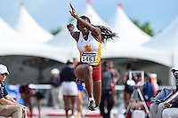 Kemi Olonade of USC competes in first round of triple jump during West Preliminary Track & Field Championships at John McDonnell Field, Friday, May 30, 2014 in Fayetteville, Ark. (Mo Khursheed/TFV Media via AP Images)