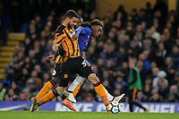Callum Hudson-Odoi of Chelsea and Hull City's Kevin Stewart challenge for the ball during Chelsea vs Hull City, Emirates FA Cup Football at Stamford Bridge on 16th February 2018