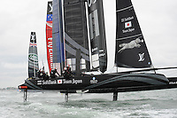 SoftBank Team Japan leads Artemis Racing, Emirates Team New Zealand and Land Rover BAR during day two of the Louis Vuitton America's Cup World Series racing, Portsmouth, United Kingdom. (Photo by Rob Munro/Stewart Communications)