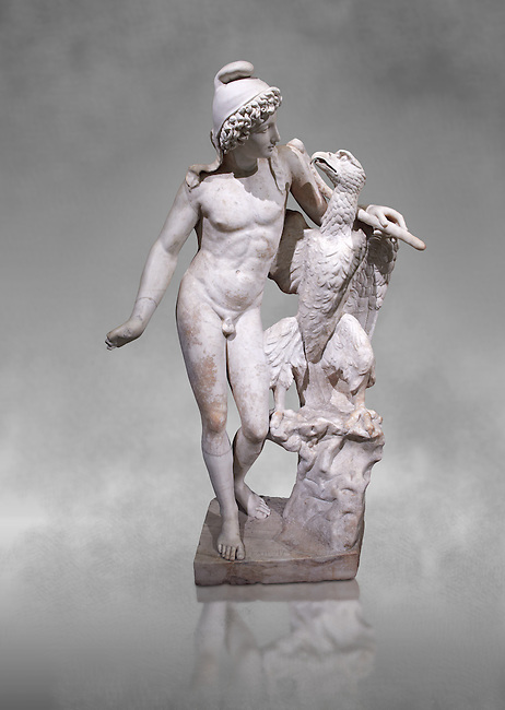 Roman marble sculpture of Ganymede with an eagle, a 2nd century AD copy from an original 2nd century BC late Hellanistic Greek original, inv 6405, Naples Museum of Archaeology, Italy