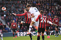 29th February 2020; Vitality Stadium, Bournemouth, Dorset, England; English Premier League Football, Bournemouth Athletic versus Chelsea; Jack Stacey of Bournemouth and Marcos Alonso of Chelsea compete in the air