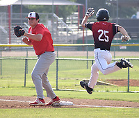 RICK PECK/SPECIAL TO MCDONALD COUNTY PRESS  McDonald County first baseman Ethan Lett collects a throw to force out a runner during the 18U baseball team's 10-9 win on June 21 over the Naturals Baseball Academy in Springdale, Ark.