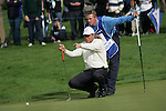 Robert Karlsson lines up his putt on the 18th green during the final round singles of the Seve Trophy at The Heritage Golf Resort, Killenard,Co.Laois, Ireland 30th September 2007 (Photo by Eoin Clarke/GOLFFILE)
