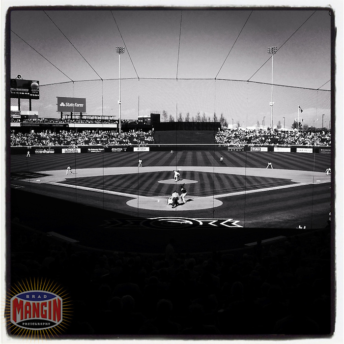 MESA, AZ - MARCH 7:  Instagram of the interior of the stadium during a spring training game between the Cleveland Indians and Chicago Cubs at Cubs Park on March 7, 2014 in Mesa, Arizona. Photo by Brad Mangin