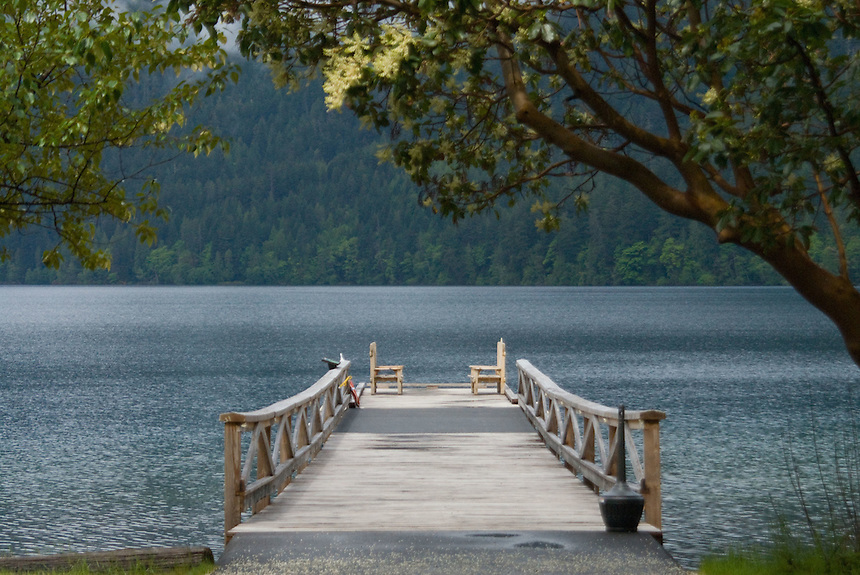 Dock at Lake Crescent Lodge, Olympic National Park, Washington, US