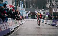 race winner Ryan Cortjens (BEL) racing blind towards victory<br /> <br /> Junior Men's Race<br /> Belgian National CX Championschips<br /> Kruibeke 2019