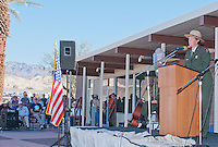 Chris Lehnertz, Pacific West Regional Director of the National Park Service, addresses the audience at the Grand Re-Opening of the Furnace Creek Visitor Center in Death Valley National Park, California, on November 4, 2012.