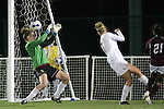7 November 2007: Florida State goalkeeper Erin McNulty (left) blocks a Boston College shot with her head. Florida State University defeated Boston College 1-0 at the Disney Wide World of Sports complex in Orlando, FL in an Atlantic Coast Conference tournament quarterfinal match.