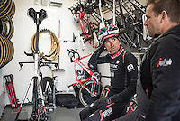 Haimar Zubeldia (ESP/Trek-Segafredo) checking in on his TT-bike in the team technical truck at the Team Trek-Segafredo winter training camp<br /> <br /> january 2017, Mallorca/Spain