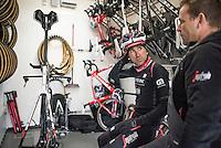 Haimar Zubeldia (ESP/Trek-Segafredo) checking in on his TT-bike in the team technical truck at the Team Trek-Segafredo winter training camp<br /> <br /> january 2017, Mallorca/Spain