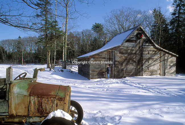 The Thompson Ice House in Bristol, Maine, USA, used to store blocks of pond ice cut during the annual ice harvest.