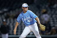 North Carolina Tar Heels relief pitcher Ben Casparius (46) in action against the Charlotte 49ers at BB&T BallPark on March 27, 2018 in Charlotte, North Carolina. The Tar Heels defeated the 49ers 14-2. (Brian Westerholt/Four Seam Images)