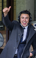 Luke O'Nien of Wycombe Wanderers gives a thumb up from the commentary box during the Sky Bet League 2 match between Wycombe Wanderers and Barnet at Adams Park, High Wycombe, England on 16 April 2016. Photo by Andy Rowland.