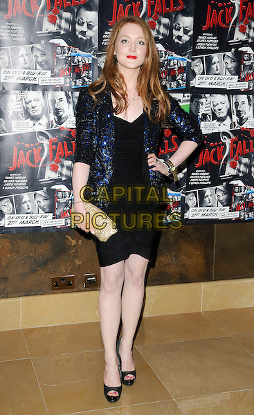 "OLIVIA HALLINAN .At the UK Film Premiere of ""Jack Falls"", The May Fair Hotel, London, England, UK, March 14th 2011..full length black  dress gold clutch bag hand on hip blue jacket beaded sequined sequin platform peep toe shoes .CAP/CAN.©Can Nguyen/Capital Pictures."