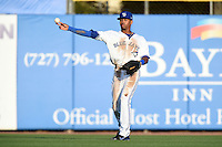Dunedin Blue Jays  outfielder Dalton Pompey (23) throws the ball in during a game against the Brevard County Manatees on April 11, 2014 at Florida Auto Exchange Stadium in Dunedin, Florida.  Brevard County defeated Dunedin 5-2.  (Mike Janes/Four Seam Images)