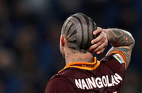 Calcio, Serie A: Roma vs Inter. Roma, stadio Olimpico, 1 marzo 2014.<br /> AS Roma midfielder Radja Nainggolan, of Belgium, reacts during the Italian Serie A football match between AS Roma and FC Inter at Rome's Olympic stadium, 1 March 2014.<br /> UPDATE IMAGES PRESS/Riccardo De Luca