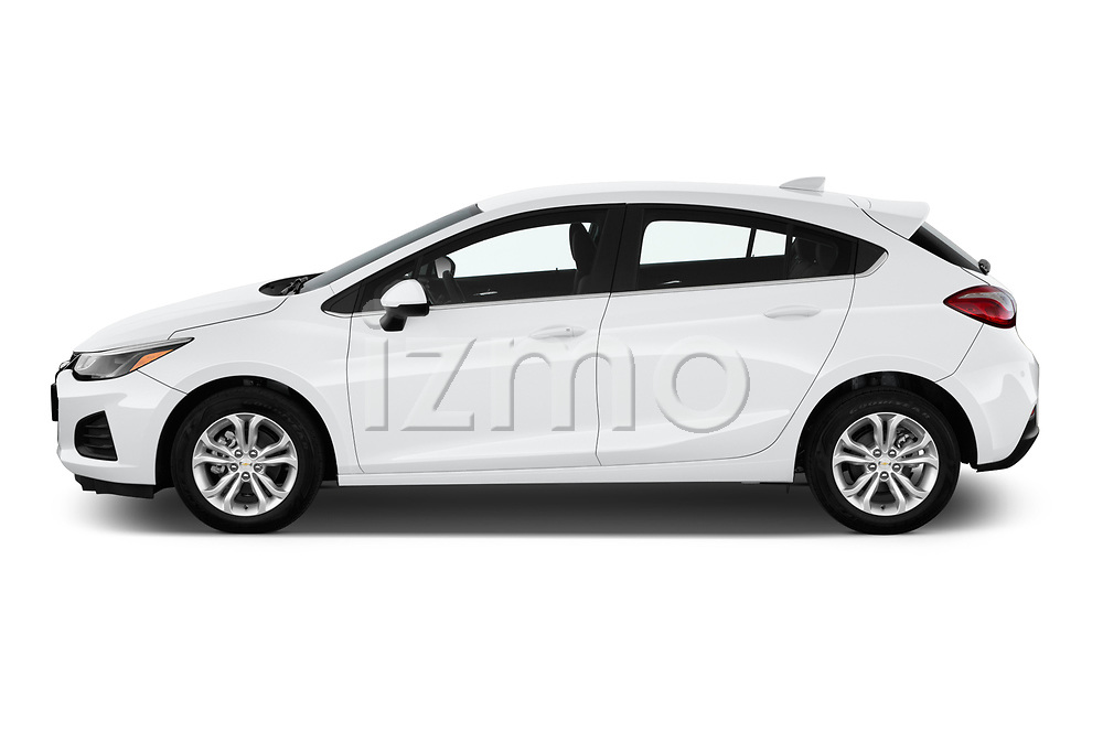 Car Driver side profile view of a 2019 Chevrolet Cruze LT 5 Door Hatchback Side View