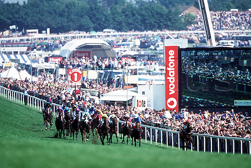 EPSOM DERBY meeting, The Vodafone Derby at 1 Furlong marker, 980606. Photo: Neil Tingle/Action Plus...1998.UR0513.flat .horse racing.equestrian sports