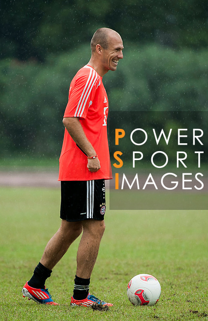 Arjen Robben of Bayern Munich in action during a training session ahead the friendly match against VfL Wolfsburg as part of the Audi Football Summit 2012 on July 26, 2012 at the Tianhe Sports Stadium in Guangzhou, China. Photo by Victor Fraile / The Power of Sport Images
