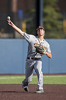 Central Michigan Chippewas third baseman Zach Heeke (3) makes a throw to first base against the Michigan Wolverines on May 9, 2017 at Ray Fisher Stadium in Ann Arbor, Michigan. Michigan defeated Central Michigan 4-2. (Andrew Woolley/Four Seam Images)