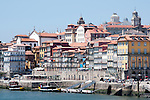 Ribeira in Porto, Portugal. Buildings along the Douro River in Porto, Portugal.