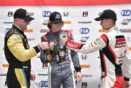 2017 F4 US Championship<br /> Rounds 1-2-3<br /> Homestead-Miami Speedway, Homestead, FL USA<br /> Sunday 9 April 2017<br /> Race #2 winner Raphael Forcier toast Ben Waddell & Timo Reger<br /> World Copyright: Dan R. Boyd/LAT Images