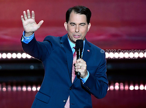 Governor Scott Walker (Republican of Wisconsin) makes remarks at the 2016 Republican National Convention held at the Quicken Loans Arena in Cleveland, Ohio on Wednesday, July 20, 2016.<br /> Credit: Ron Sachs / CNP<br /> (RESTRICTION: NO New York or New Jersey Newspapers or newspapers within a 75 mile radius of New York City)